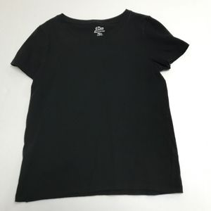 J. Crew Solid Black Cotton Essential Tee Shirt Top